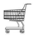 shopping cart symbol in black and white vector image vector image