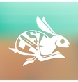 silhouette fast rabbit with text inside on blur vector image