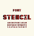 stencil volume font alphabet vector image