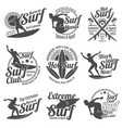 summer surfing sports logos collection with vector image vector image