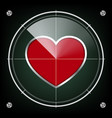technology radar screen red heart vector image vector image