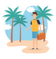 travel boy on beach design vector image