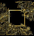 tropical gold square frame vector image vector image