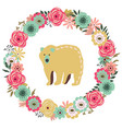 vintage floral frame with a bear vector image vector image