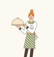 waitress serving dish flat vector image