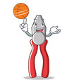 with basketball pliers character cartoon style vector image