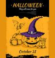 halloween hand drawn poster vector image