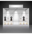 Illuminated shop showcase interior with mannequins vector image