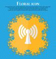 Wi-fi internet Floral flat design on a blue vector image