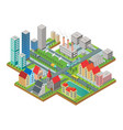 3d isometric three-dimensional modern city view vector image