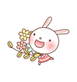 A rabbit is holding flowers vector image vector image