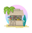 beach bar with palm tree and sunset with vector image