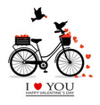birds in love on top of a bicycle vector image vector image