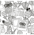 Black and white seamless pattern with vintage vector image