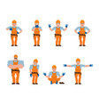 builder set poses and motion worker in protective vector image