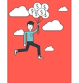 Businessman flying with balloons vector image