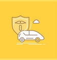 car hand insurance transport safety flat line vector image