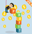 Cartoon Businessman stacking profit box vector image vector image