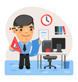 cartoon engineer in office vector image vector image