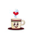 cute cartoon coffee mug character with striped vector image