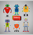 cute cartoon robots on transparent background vector image vector image