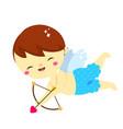 cute cupid aiming with love arrow and bow cartoon vector image