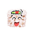 cute happy laughing sushi character roll with vector image vector image