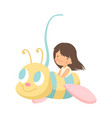 cute little girl riding at bee carousel happy kid vector image vector image