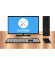 desktop computer with repair logo on screen vector image vector image