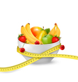 Diet meal Fruit in a bowl with measuring tape vector image