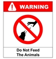 Do not feed the animals wildlife birds sign vector image