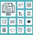 education icons set with file folder audio book vector image vector image