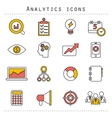 Flat line icons set of small business planning vector image vector image