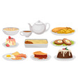 flat set of traditional english food tasty vector image vector image
