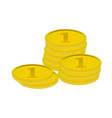 gold coins lying one in three stacks vector image