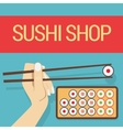 Hand with sushi roll vector image