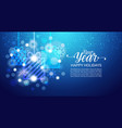 happy holidays poster shiny bokeh snowflakes vector image