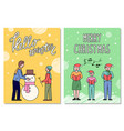hello winter and merry christmas greeting cards vector image