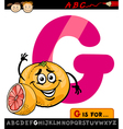 letter g with grapefruit cartoon vector image vector image