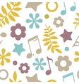 light seamless pattern stars notes and leaves vector image