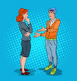 man talking with business woman in office pop art vector image vector image