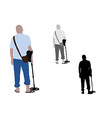 Man with slippers and bag using metal detector vector image