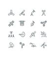 Orbit communication satellite line icons vector image vector image