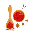 paprika powder in wooden bowl and spoon colorful vector image vector image
