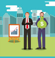 people business with money in meadow urban vector image