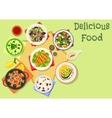 Popular salad icon with seafood meat vegetable vector image vector image