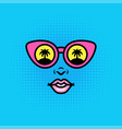 positive pop art style girl or woman face vector image
