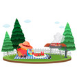 scene with bbq grill and picnic basket vector image vector image