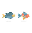 sea ocean fishes set mackerel salmon fish flat vector image