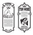 set seafood flyers with octopus and fish vector image vector image